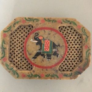 Soapstone/marble elephant trinket vanity box